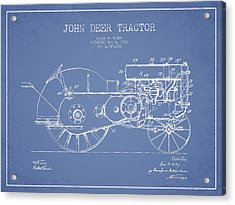 John Deer Tractor Patent Drawing From 1930 - Light Blue Acrylic Print by Aged Pixel