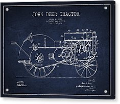 John Deer Tractor Patent Drawing From 1930 - Navy Blue Acrylic Print by Aged Pixel