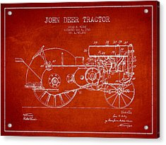 John Deer Tractor Patent Drawing From 1930 - Red Acrylic Print by Aged Pixel