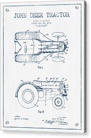 John Deer Tractor Patent Drawing From 1932- Blue Ink Acrylic Print by Aged Pixel
