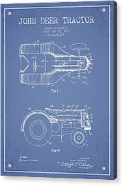 John Deer Tractor Patent Drawing From 1932 - Light Blue Acrylic Print by Aged Pixel