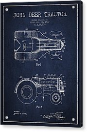 John Deer Tractor Patent Drawing From 1932 - Navy Blue Acrylic Print by Aged Pixel