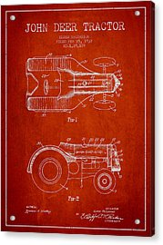 John Deer Tractor Patent Drawing From 1932 - Red Acrylic Print by Aged Pixel