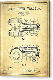 John Deer Tractor Patent Drawing From 1932 - Vintage Acrylic Print by Aged Pixel