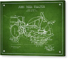 John Deer Tractor Patent Drawing From 1933 - Green Acrylic Print by Aged Pixel