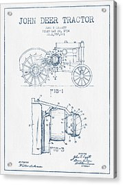 John Deer Tractor Patent Drawing From 1934- Blue Ink Acrylic Print by Aged Pixel