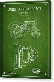 John Deer Tractor Patent Drawing From 1934 - Green Acrylic Print by Aged Pixel