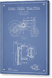 John Deer Tractor Patent Drawing From 1934 - Light Blue Acrylic Print by Aged Pixel
