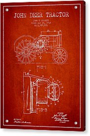 John Deer Tractor Patent Drawing From 1934 - Red Acrylic Print by Aged Pixel