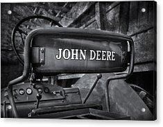 John Deere Tractor Bw Acrylic Print by Susan Candelario