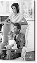 John F. Kennedy With Jacqueline And Caroline 1959 Acrylic Print by The Phillip Harrington Collection