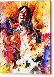 John Frusciante - Red Hot Chili Peppers Original Painting Print Acrylic Print by Ryan Rock Artist