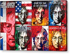 John Lennon - A Man Of Peace And The World. Second Poster Acrylic Print by Vitaliy Shcherbak