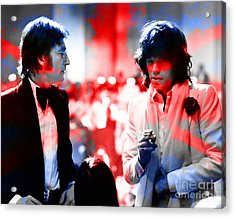 John Lennon And Mick Jagger Painting Acrylic Print by Marvin Blaine