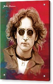 John Lennon Art Stylised Drawing Sketch Poster Acrylic Print by Kim Wang