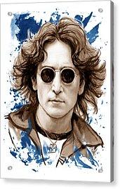 John Lennon Colour Drawing Art Poster Acrylic Print by Kim Wang