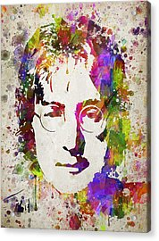 John Lennon In Color Acrylic Print by Aged Pixel