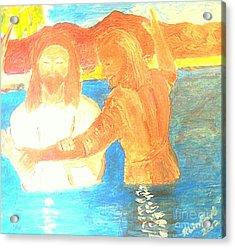 John The Baptist Baptizing Jesus In River Jordan By Immersion Acrylic Print by Richard W Linford