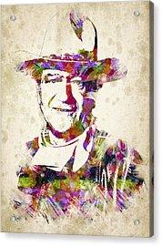 John Wayne Portrait Acrylic Print by Aged Pixel