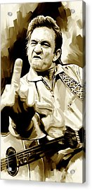Johnny Cash Artwork 2 Acrylic Print by Sheraz A