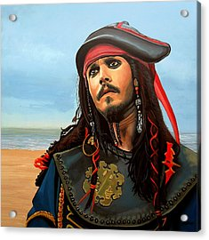Johnny Depp As Jack Sparrow Acrylic Print by Paul Meijering