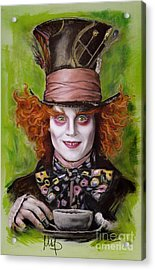 Johnny Depp As Mad Hatter Acrylic Print by Melanie D