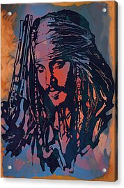 Johnny Depp - Stylised Etching Pop Art Poster Acrylic Print by Kim Wang