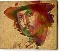 Johnny Depp Watercolor Portrait On Worn Distressed Canvas Acrylic Print by Design Turnpike