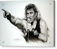 Johnny Halliday Acrylic Print by Guillaume Bruno