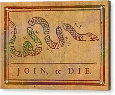 Join Or Die Benjamin Franklin Political Cartoon Pennsylvania Gazette Commentary 1754 On Parchment  Acrylic Print by Design Turnpike