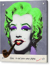 Joker Marilyn With Surreal Pipe Acrylic Print by Filippo B