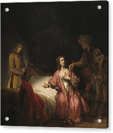 Joseph Accused By Potiphar's Wife Acrylic Print by Rembrandt