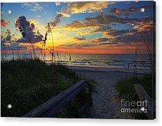 Joy Comes In The Morning Sunrise Carolina Beach Nc Acrylic Print by Wayne Moran