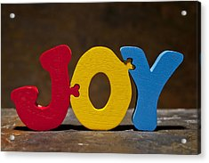 Joy Puzzle Painted Wood Letters Acrylic Print by Donald  Erickson