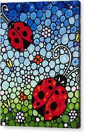 Joyous Ladies Ladybugs Acrylic Print by Sharon Cummings