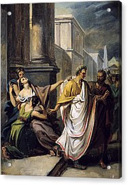 Julius Caesar 100-44 Bc On His Way To The Senate On The Ides Of March Oil On Canvas Study Acrylic Print by Abel de Pujol