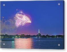 July 4th Fireworks Along The Potomac Acrylic Print by Steven Barrows