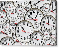 Jumbled Clock Times Acrylic Print by Victor De Schwanberg