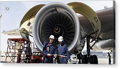 Jumbo Jet Engine Power Acrylic Print by Christian Lagereek