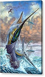 Jumping Sailfish And Flying Fishes Acrylic Print by Terry Fox