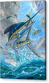 Jumping White Marlin And Flying Fish Acrylic Print by Terry Fox