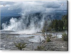 Just Before The Storm - Mammoth Hot Springs Acrylic Print by Sandra Bronstein