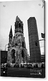 Kaiser Wilhelm Gedachtniskirche Memorial Church New Bell Tower And Christmas Market Berlin Germany Acrylic Print by Joe Fox