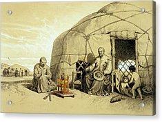 Kalmuks With A Prayer Wheel, Siberia Acrylic Print by Francois Fortune Antoine Ferogio