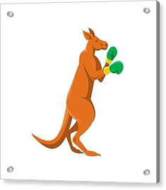 Kangaroo Boxer Boxing Retro Acrylic Print by Retro Vectors