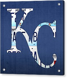 Kansas City Royals Recycled License Plate Art Baseball Logo Acrylic Print by Design Turnpike
