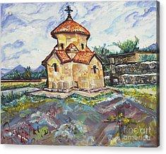 Karmravor Church Vii Century Armenia Acrylic Print by Helena Bebirian