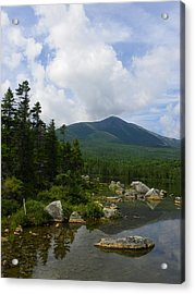 Katahdin From Sandy Stream Pond Acrylic Print by Georgia Hamlin