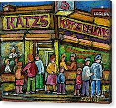 Katz's Deli Acrylic Print by Carole Spandau