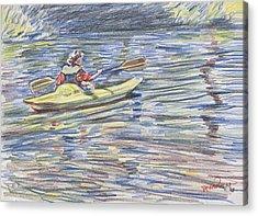 Kayak In The Rapids Acrylic Print by Horacio Prada